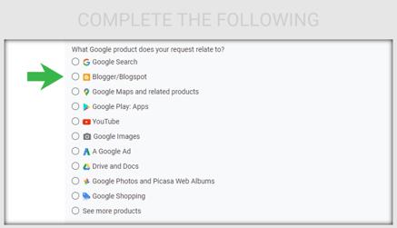 "Select ""Blogger/Blogspot."""
