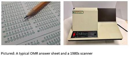 A typical OMR answer sheet and a 1980s scanner